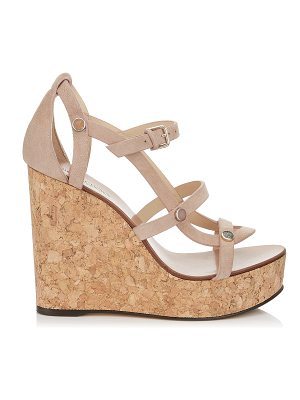 Jimmy Choo NERISSA 120 Ballet Pink Suede Wedges with Stone Effect Studs