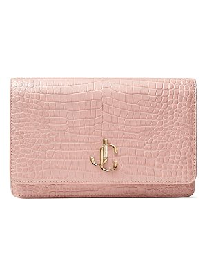 Jimmy Choo PALACE Blush Croc-Embossed Leather Mini Bag with JC Emblem