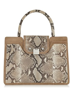 Jimmy Choo REBEL TOTE Light Mocha Suede and Natural Matt Python Tote Bag