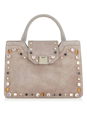 Jimmy Choo REBEL TOTE/S Opal Grey Suede with Mixed Cabochon Studs Tote Bag