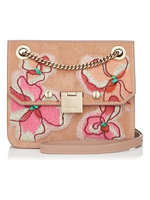 Jimmy Choo REBEL/XB Ballet Pink Suede Cross Body Bag with Floral Stitch Embroidery