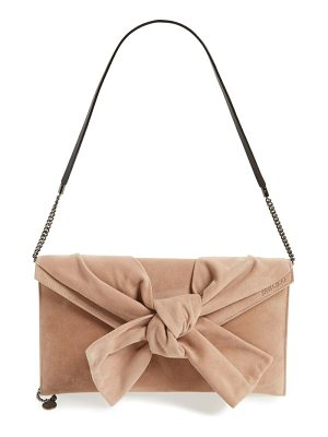 JIMMY CHOO Riva Sue Suede Bow Clutch