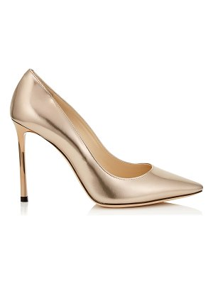 Jimmy Choo ROMY 100 Ballet Pink Liquid Mirror Leather Pointy Toe Pumps