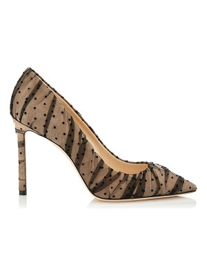 Jimmy Choo ROMY 100 Nude Suede Pointy Toe Pumps with Black Ruched Polka Dot Tulle