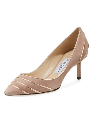 Jimmy Choo Romy 60mm Metallic Leather-Piped Suede Pumps