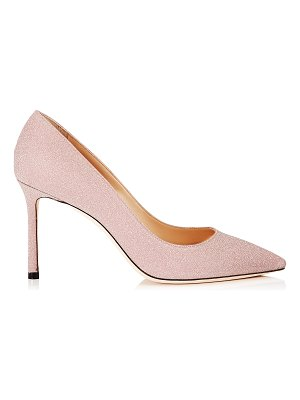 Jimmy Choo ROMY 85 Ballet Pink Fine Glitter Fabric Pointy Toe Pumps