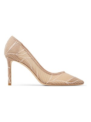 Jimmy Choo ROMY 85 Ballet-Pink Mesh Point-Toe Pumps with Sequin Embroidery