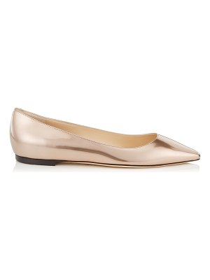 Jimmy Choo ROMY FLAT Ballet Pink Liquid Mirror Leather Pointy Toe Flats