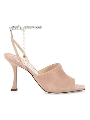 Jimmy Choo sae embellished ankle-chain suede sandals