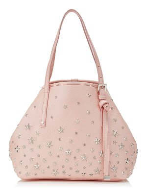 JIMMY CHOO Sasha/S Camellia Pearlised Metallic Deerskin Mini Tote Bag With Pink Crystal Stars