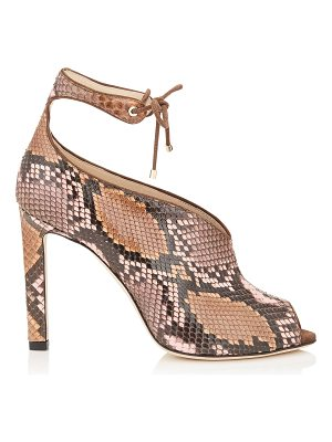 Jimmy Choo SAYRA 100 Rosewater and Nutmeg Dégradé Painted Python Booties