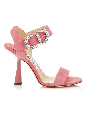 Jimmy Choo SERENO 100 Candyfloss Suede Sandals with Jewelled Buckle
