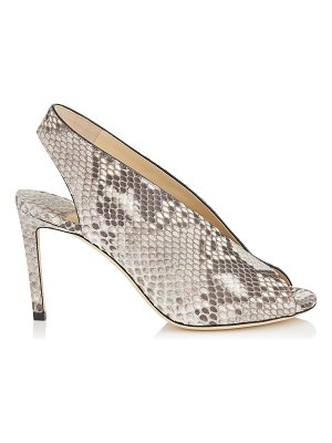 Jimmy Choo SHAR 85 Natural Matt Python Sandal Booties