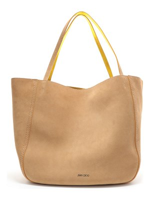 Jimmy Choo STEVIE TOTE Reversible Caramel and Saffron Suede and Nappa Metallic Nappa Tote Bag