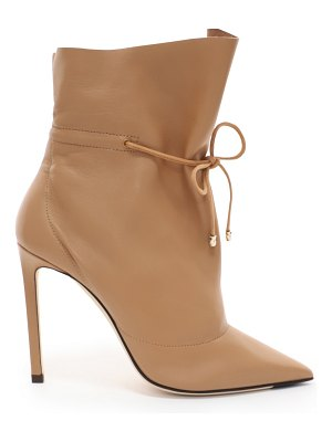 Jimmy Choo STITCH 100 Caramel Nappa Leather Bootie with Drawstring Ankle Detailing