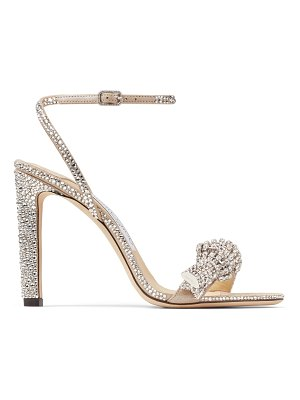 Jimmy Choo THYRA 100 Nude Suede Sandals with Pavé Crystal Cord Detail