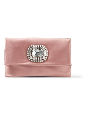 Jimmy Choo TITANIA Blush Satin Clutch Bag with Jewelled Centrepiece