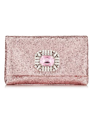 Jimmy Choo TITANIA Candyfloss Galactica Glitter Fabric Clutch Bag with Jewelled Centre Piece
