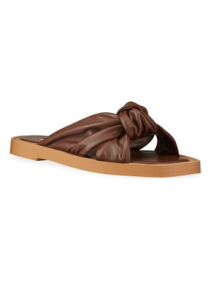 Jimmy Choo Tropica Knotted Leather Flat Sandals