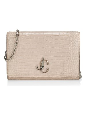 Jimmy Choo palace croc-embossed leather clutch
