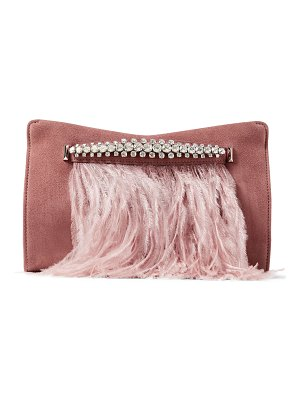 Jimmy Choo VENUS Blush Ostrich Feather-trimmed Suede Clutch Bag