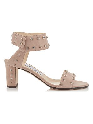 Jimmy Choo VETO 65 Ballet Pink Suede Sandals with Ballet Pink Mix Stone Effect Studs