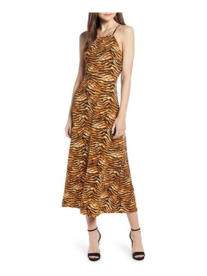 J.O.A. cheetah print lace-up back midi dress