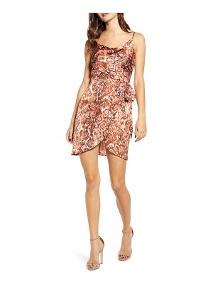 J.O.A. cowl neck snakeskin print silk dress
