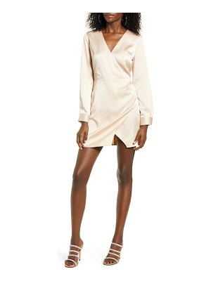 J.O.A. pleat detail long sleeve satin minidress