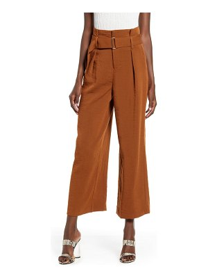 J.O.A. pleated wide leg crop trousers
