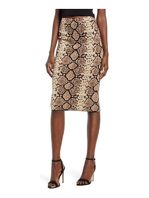 J.O.A. snake jacquard knit pencil skirt