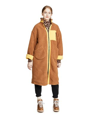 J.O.A. zip up long teddy jacket