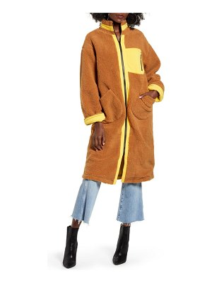 J.O.A. zip up teddy long coat