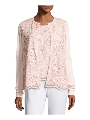 Joan Vass Lace-Front Cardigan