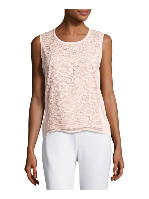Joan Vass Scoop-Neck Lace Shell