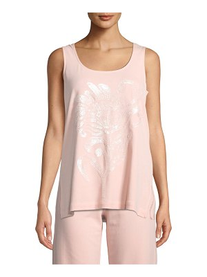 Joan Vass Scoop-Neck Tank w/ Tonal Floral Sequin Motif