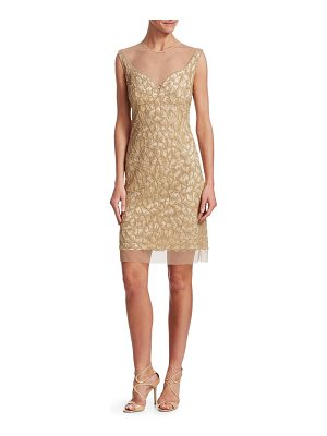 JOANNA MASTROIANNI beaded illusion-neck cocktail dress