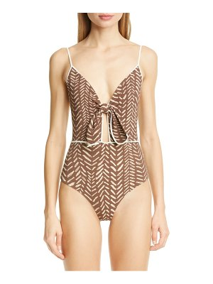 Johanna Ortiz block print tie front one-piece swimsuit