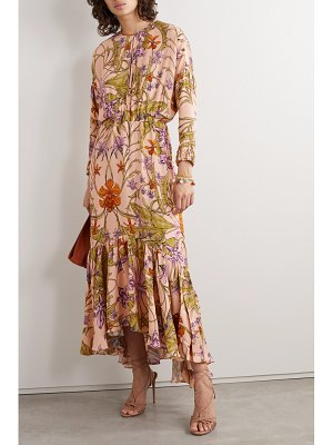 Johanna Ortiz chosen elements tiered floral-print crepe midi dress