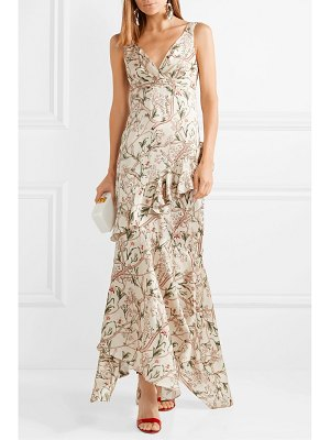 Johanna Ortiz divine intervention ruffled asymmetric printed silk-satin maxi dress