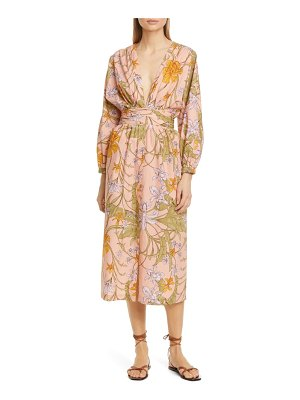 Johanna Ortiz floral plunge neck cotton midi dress