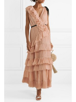 Johanna Ortiz grosgrain-trimmed ruffled plissé silk-voile dress
