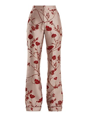 Johanna Ortiz Jancita High Rise Flared Brocade Trousers