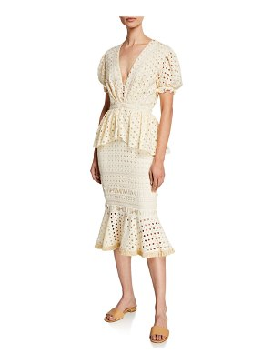 Johanna Ortiz Lovers Bridge Short-Sleeve Cotton Eyelet Dress