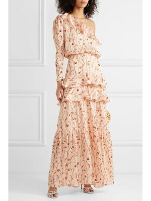Johanna Ortiz mysterious soul one-shoulder floral-print crinkled-georgette maxi dress