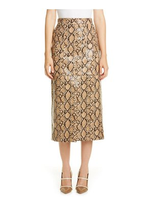 Johanna Ortiz python print faux leather midi pencil skirt