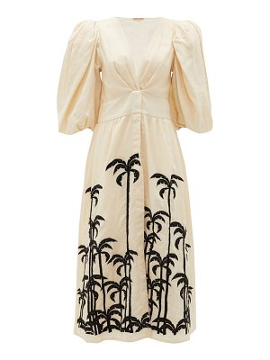 Johanna Ortiz quizás palm tree-embroidered linen midi dress