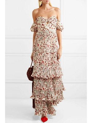 Johanna Ortiz the lady of shalott off-the-shoulder floral-print crepe de chine gown