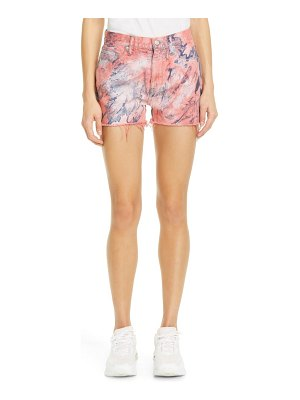 JOHN ELLIOTT brady spin art tie dye high waist cutoff denim shorts