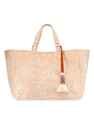 Johnny Was Jewel Embroidered Linen Tote Bag